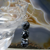 Snowflake obsidian gemstone earrings, snowflake obsidian dangle earrings  MS494