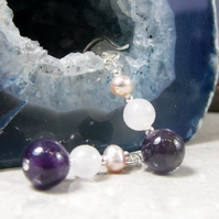 Gemstone Drop Earrings, Pearl, Rose Quartz, Amethyst Gemstone Earrings  MS487