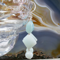 Amazonite Drop Gemstone Earrings, Unique Long Earrings MS474