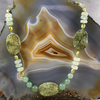 Unique Gemstone Necklace, Unique Jade Necklace  MS460