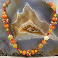 Long Gemstone Necklace, Orange Unique Necklace MS462