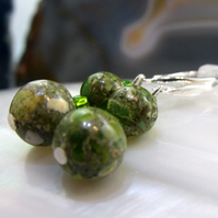Jasper Drop Earrings, Green Gemstone Earrings  MS545