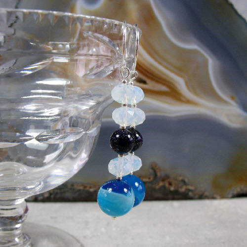 Blue Drop Earrings, Unique Gemstone Earrings  MS439
