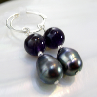 Gemstone Earrings, Pearl, Amethyst Earrings MS547
