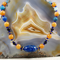 Unique Gemstone Necklace, Blue & Orange Necklace MS451