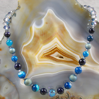 Crystal Gemstone Necklace, Blue Unique Necklace  MS446