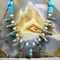 Gemstone Necklace, Blue Unique Necklace  MS440