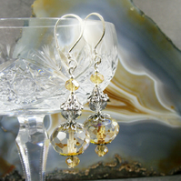 Long Crystal Earrings, Crystal Drop Earrings MS435