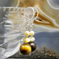 Gemstone Earrings, Mother of Pearl Tigers Eye Earrings  MS431