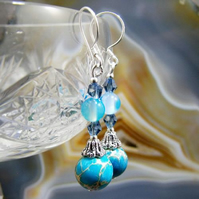 Blue Jasper Earrings, Blue Gemstone Earrings  MS431