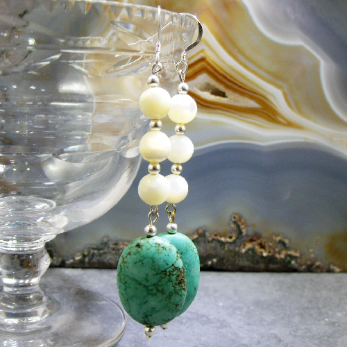 Long Turquoise Earrings, Turquoise Gemstone Earrings  MS348