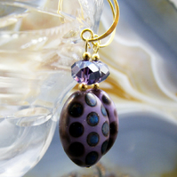 Purple Glass Bead Earrings, Unique Purple Earrings  MS347