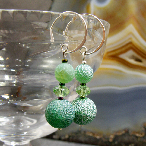 Green Earrings, Green Agate Gemstone Earrings  MS343