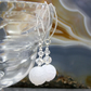 White Earrings, White Agate Gemstone Earrings  MS342