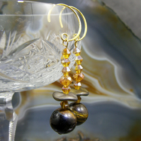 Long Tigers Eye Earrings, Unique Crystal & Gemstone Earrings MS399