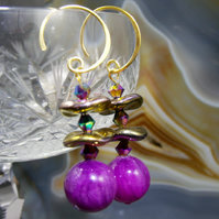 Purple Gemstone Earrings, Long Purple Earrings MS398
