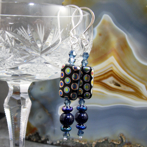 Long Blue Goldstone and Blue Bead Earrings MS394