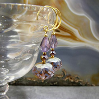 Purple Crystal Earrings, Unique Purple Earrings  MS345