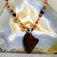 Heart Pendant Necklace, Long Gemstone Necklace MS410