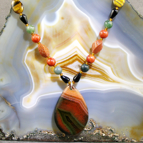 Gemstone Pendant Necklace,  Unique Gemstone Necklace Design  MS418