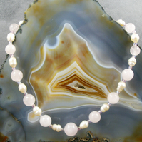 Rose Quartz Gemstone Necklace, Pink Necklace MS416