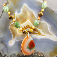Gemstone Agate Pendant Necklace, Unique Gemstone Necklace MS435