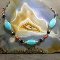 Unique Turquoise Gemstone Necklace, Unique Turquoise Necklace MS430