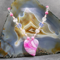 Pink Heart Pendant Necklace, Unique Pink Gemstone Necklace MS429
