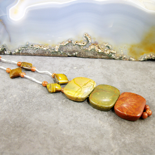 Jasper Pendant Necklace, Unique Gemstone Necklace MS414