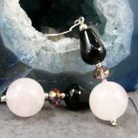 Long Onyx, Rose Quartz Earrings, Unique Pink Gemstone Earrings MS385