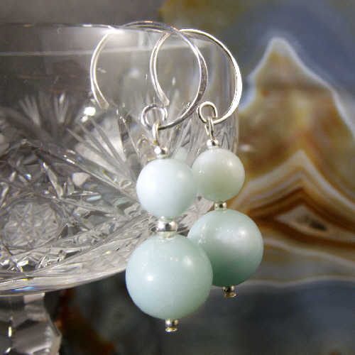 Amazonite Gemstone Earrings, Pale Blue Earrings MS380