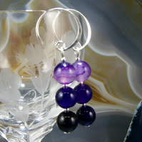 Purple Agate Gemstone Earrings, Purple Drop Earrings. MS375