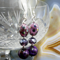 Purple Bead, Crystal, Gemstone Earrings. MS377