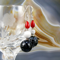 Unique Gemstone Earrings, Red, White, Black Earrings MS373