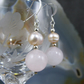 Rose Quartz Gemstone Earrings, Rose Quartz &  Pearl Earrings MS370
