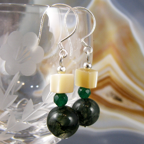 Moss Agate Gemstone Earrings, Moss Agate Earrings MS369