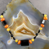 Black, Orange Gemstone Necklace, Unique Long Necklace MS570