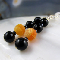 Orange Black Semi-Precious Gemstone Earrings, Black Onyx, Orange Agate handmade