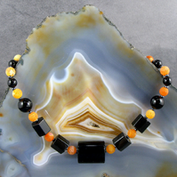 Black & Orange Gemstone Necklace  MS571