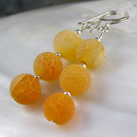 Orange Gemstone Earrings, Orange Agate Drop Earrings  MS552