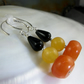 Black & Orange Gemstone Earrings, Brightly Coloured Drop Earrings MS551
