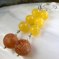 Yellow and Orange Gemstone Earrings, Long Drop Earrings MS553