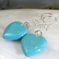 Turquoise Gemstone Earrings, Heart Designed Turquoise Earrings MS554