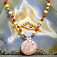 Agate Pendant Necklace, Beautiful Gemstone Necklace MS406