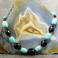 Turquoise Necklace, Blue Gemstone Necklace MS407
