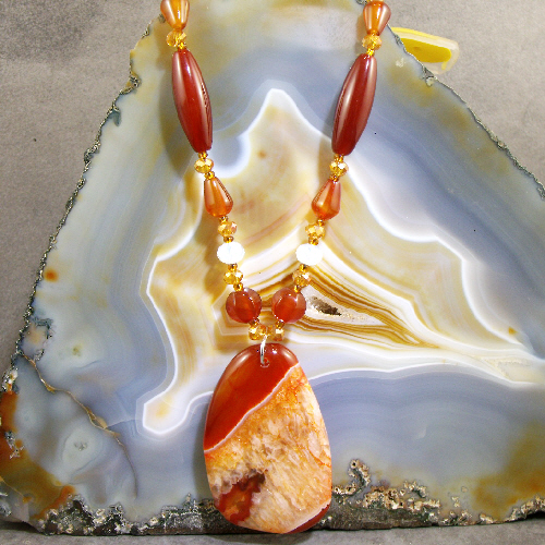 Long Gemstone Necklace, Agate Pendant Necklace MS405