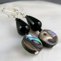 Black Earrings, Paua Shell & Gemstone Earrings  MS557