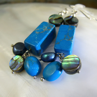 Blue Gemstone Earrings, Turquoise Earrings  MS558