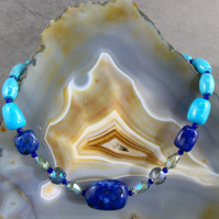 Blue Lapis Lazuli Gemstone Necklace, Blue Necklace  MS577