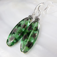 Green Czech Glass Bead Earrings, Beaded Dangle Earring Design FE65